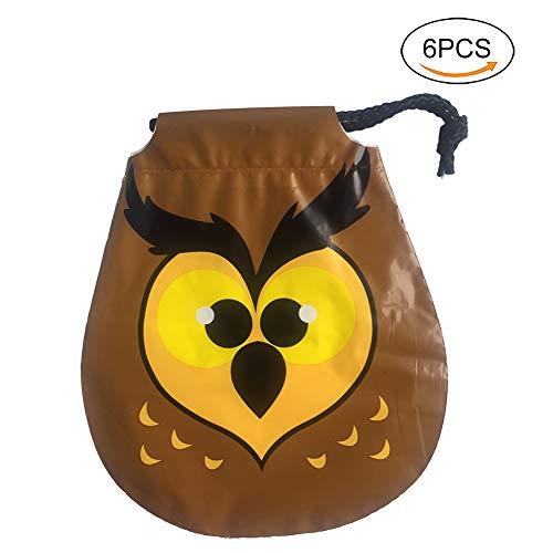 Lumanuby 6X Gamelt Tier Süßigkeiten Tasche mit Kordelzug für Halloween PE Verpackung Tüte für Treat Oder Trick Size 20.5cm*18cm (Eule)