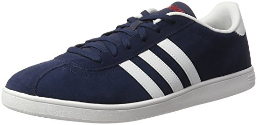adidas Vlcourt, Mocassins Homme, Bleu, 40 EU Bleu (Collegiate Navy/footwear White/power Red)