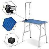 Leisure Zone Adjustable Portable Stainless Steel Dog Grooming Table with Arm Noose and Aluminum Edging (W78 xD48.5 x H76CM, BLUE)