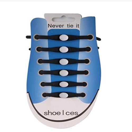 LEORX Nessun laccio di Silicone di legame per l'adulto, lacci per le scarpe Sneaker - 12pcs (nero + bianco)