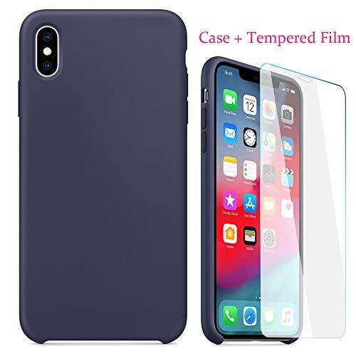 Momoxi Handyhülle, Phone Accessory Handy-Zubehör Dünne Silikon-Leder-weiche Hülle + gehärtete Folie für iPhone XS max 6,5 Zoll, begrenzte Anzahl
