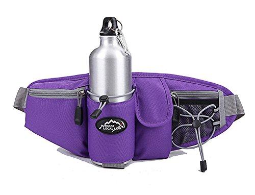 EchoFun Outdoor-taktische Taille/Fanny Bag Fashion haltbar Unisex Runner Camping Wandern Bike Taille Backpackack Wasser Flasche Halter verstellbarer Gürtel Sporttasche purple