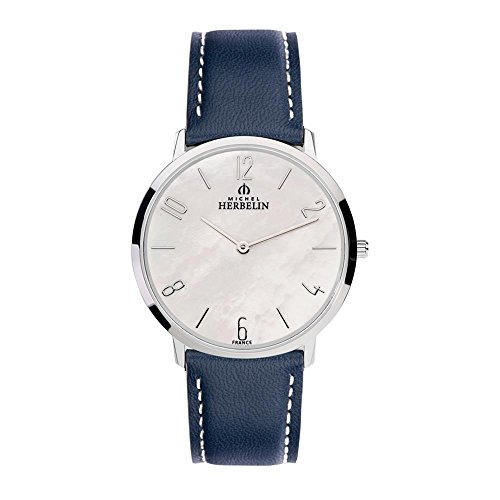Michel Herbelin Damen-Armbanduhr 36mm Armband Leder Blau Batterie 17415/29BL