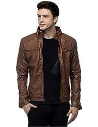 I.A.C Men's Faux Leather Biker Jacket S Brown