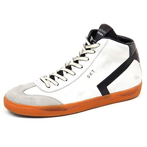 Leather Crown F0468 Sneaker Uomo White/Black Scarpe Vintage Effect Shoe Man [42]