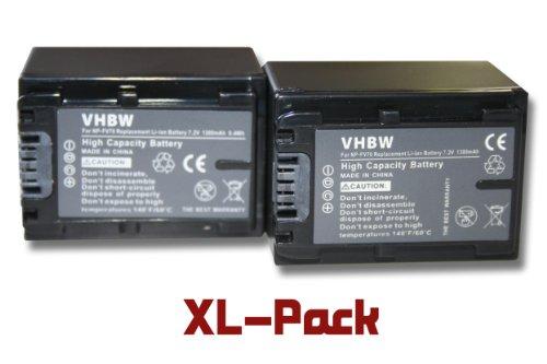 2 x vhbw Set baterías 1300mAh para videocámara Sony DCR-DVD850E, HDR-CX520E, HDR-CX110E, DCR-SR37E, HDR-CX520VE, HDR-CX115E, DCR-SR38E