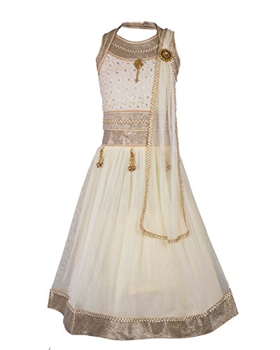 My Lil Princess Baby Girls Birthday Party wear Frock Dress_White Golden Lehenga...