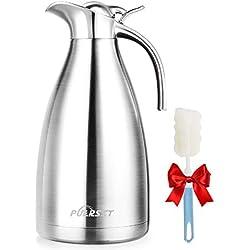 puersit Pot de café, 304 Acier Inoxydable Double-Wall Vacuum Isolé Café Pot Thermos, Plongeur de café, Jus/Lait/Pot d'isolation de thé (2L)