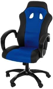 AC Design Furniture 37957 Bürostuhl Imola, Bezug Kunstleder schwarz / Mesh blau, Armlehnen gepolstert, ca. 61 x 120 x 67 cm