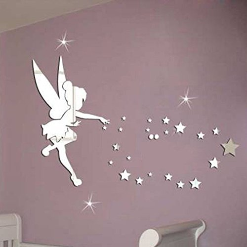 Lifeup adesivi murali per bambina fatina stelle tono specchio argento decorazione camera da - Specchi adesivi per pareti ...