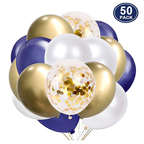 SKYIOL Helium Ballons Geburtstag Blau Weiß Gold Metallic Konfetti Latex Luftballons als Party Feier Dekoration für Kinder Junge Hochzeit Baby-Shower Abschluss Valentinstag, 50 Stück 30 cm