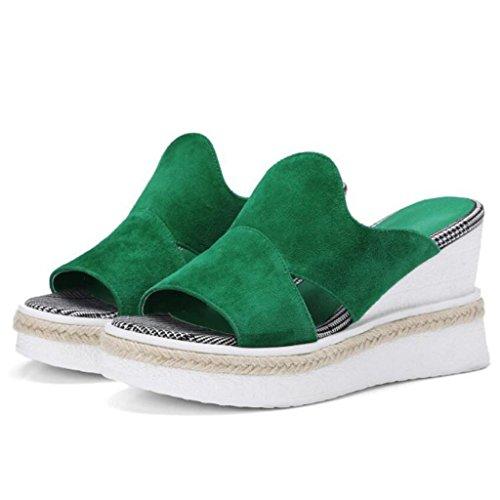 GAOLIXIA Sandales en cuir pour femmes Escarpins Bout ouvert à talons hauts Talons compensés Pantoufles de paille vert noir