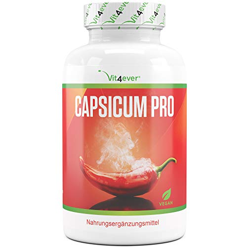 Capsicum Pro - Chili Burner - 180 Kapseln - 30 Tage Kur - Capsicum Extrakt 8:1-1000 mg - Natürlicher Chiliburner mit spanischem Pfeffer Extrakt - Capsicum annuum - Vegan - Vit4ever