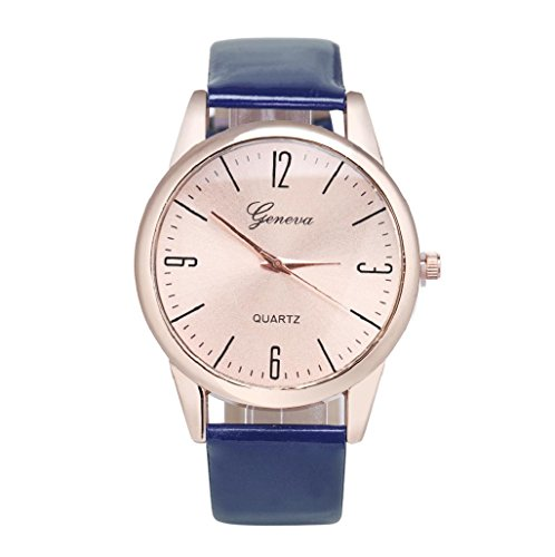 Sannysis® Mujeres números romanos banda de cuero reloj de pulsera Azul