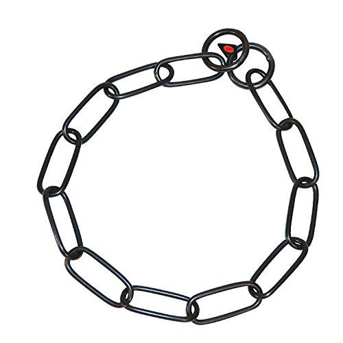 Artikelbild: Sprenger Kettenhalsband Langgliedkette mit 2 Ringen Edelstahl geschwärzt 4 mm für Hunde bis 85 kg (76 cm)