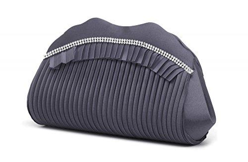VINCENT PEREZ Borsetta, Borsa a tracolla, Pochette di raso increspato con strass e tracolla rimovibile (120cm) grigio scuro