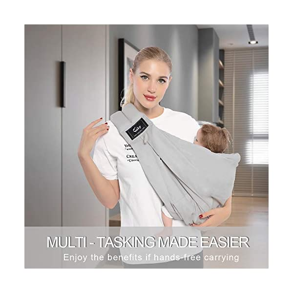 Cuby Baby Slings Carrier for Newborns and Breastfeeding (Grey) CUBY Durable Weight Baby Sling:Designed to carry babies who are 0 to 36 months old and weighing no more than 44 pounds. Five Different Carrying Positions: Including two perfect and convenient for breastfeeding. Cuby's baby carrier allows you to carry your baby in the same position they used in the womb, gives your baby a familiar sense of security and makes it easy for you to enjoy eye contact to bond with your new bundle of joy. Premium Cotton: The baby carrier by Cuby is made of 100% high quality cotton. It is soft, skin-friendly and breathable. 6