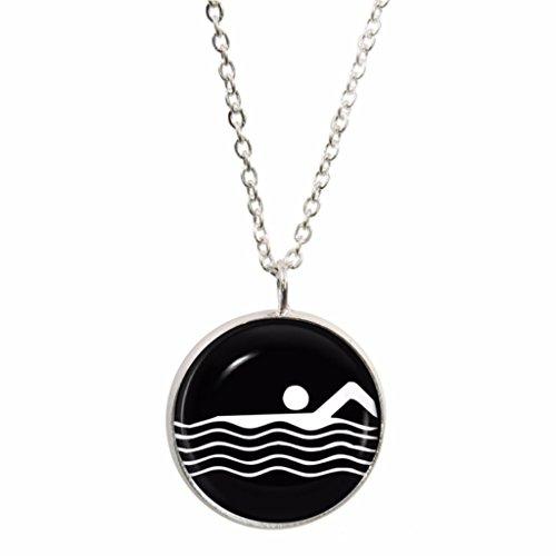 Athletic Schwimmen Symbol Anhänger und Silber plattiert Halskette Set Athletic-set