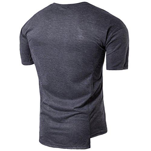 ZhiYuanAN Sommer T-Shirt Mode Persönlichkeit Für Männer Unregelmäßiger Saum Und Leder Dekoration Design Shirt Casual Kurze Ärmel Tops Dunkelgrau