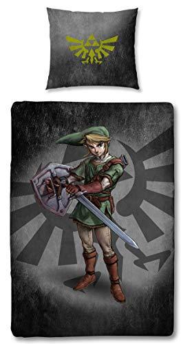 Character World Wende Bettwäsche The Legend of Zelda, 135x200 cm 80x80 cm, 100% Baumwolle Linon, Reißverschluss (Zelda Stand)