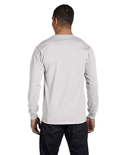 Hanes Mens Beefy-T 100% Cotton Long Sleeve T-Shirt Ash