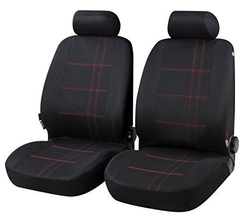 Coprisedili Anteriori Neri Giulietta Versione (2010 - in Poi) compatibili con sedili con airbag, con Fori per i poggiatesta e bracciolo Laterale