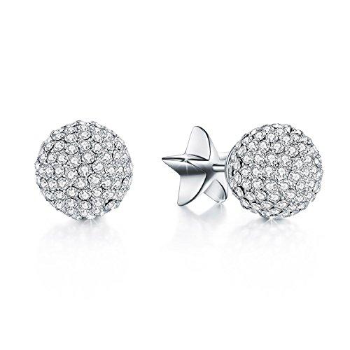 Voila Reve Sterling Silber Ohrringe Vergoldet Kugel Ohrringe mit Swarovski Kristallen Elements
