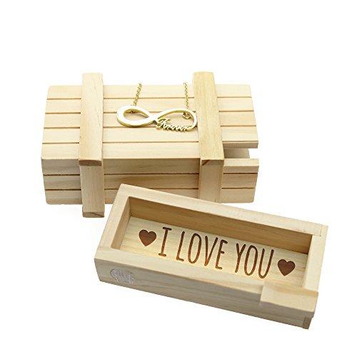 """Set regalo - collana in acciaio inox colore oro e pendente """"forever"""" - scatola magica con chiusura rompicapo - incisione segreta """"i love you"""" - legno chiaro - regalo romantico"""
