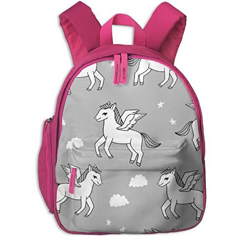 Kinderrucksack für Mädchen, Pegasus Stoff Cute Pegasus Whimsical Fantasy Stoff Für Mädchen Cute Baby Nursery Design - Grey_3138 - Andrea_Lauren, Für Kinderschulen Oxford Stoff (pink)