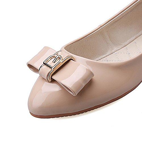 AllhqFashion Damen Rein Pu Leder Niedriger Absatz Rund Zehe Ziehen Auf Pumps Schuhe Aprikosen Farbe