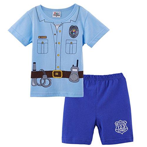 Mombebe Baby Jungen 2 Stücke Polizei Kostüm Shirt Sets (12-18 Monate, Polizei)