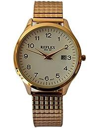 Reflex hommes de cadran rond blanc montre en acier inoxydable avec date dispay et Bracelet Extensible Doré refx0008