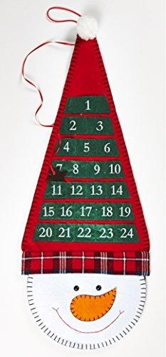 Idea natale: calendario dell'avvento da appendere in stoffa a forma di simpatico pupazzo di neve; cm 29*72
