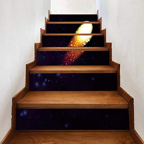 Wangxuan6 Fliesen Treppe Aufkleber Abziehbild Treppen Shooting Star Treppen Bodenbelag Diy Boden Abziehbild Treppen Abziehbild Dekor