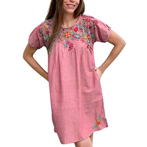 Damen Elegant Sommerkleider mit Embroidered Vintage 50er Jahre Classy Rockabilly Retro Blumenmuster Print RundhalsKurzarm Strandkleid DruckkleidFestkleider - Stricken Lounge-set