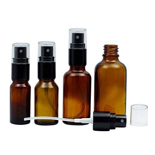 50 Pcs gros bouteilles réutilisables Parfum Spray Empty Bottle Verre Ambre Noire Avec atomiseur Cap Boston ronde Bouteille Huile Essentielle 10 ML