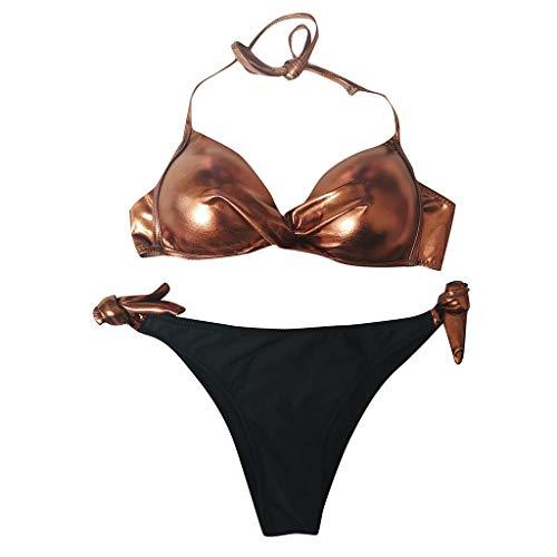 hmtitt Damen Sexy Neckholder Bikini Set, Sommer Gold Shining Beachwear Pailletten Patchwork Badebekleidung Gepolsterte Push Up Bikini Set Brasilianische Badeanzug Tasse A B C D E