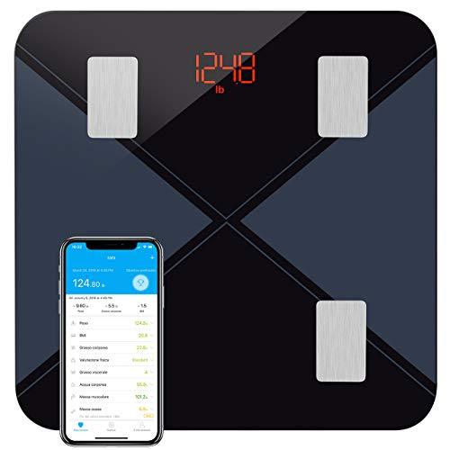 Bilancia Pesa Persona Digitale, Mpow Bilancia Pesapersone Diagnostica Bluetooth Wireless Digitale Misura: Peso, Grasso, Liquidi, Massa Muscolare, BMI, BMR.Gestione tuo Corpo con App per IOS e Andriod