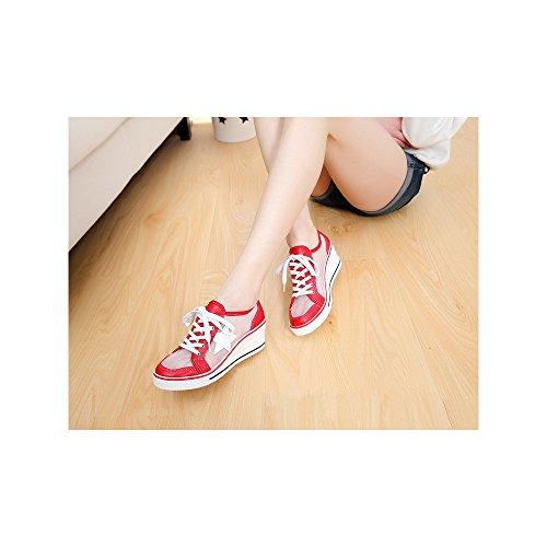 Femme Baskets Mode en Toile Talon Compensé Chaussures de Sport Fermeture Lacets #7 Rouge