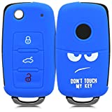 kwmobile Funda para Llave de 3 Botones para Coche VW Skoda Seat - Carcasa Protectora [Suave] de [Silicona] - Case de Mando de Auto con diseño Don't Touch my Key