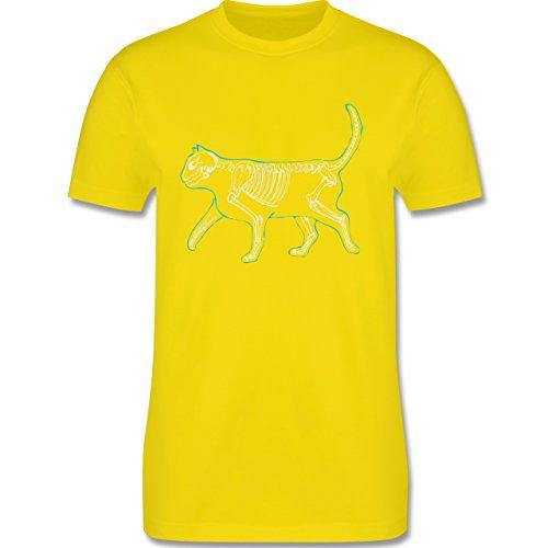Shirtracer Katzen - Spooky Cat - Herren T-Shirt Rundhals Lemon Gelb