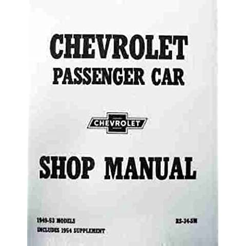 1949 1950 1951 1952 1953 1954 Chevrolet Chevy Car Shop Service Repair Manual with Decal - 1951 1952 1953 1954 Car