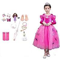 JJAIR Princesa del Traje de Las niñas, Puff Manga Larga y Shaort Fiesta de cumpleaños Manga de Vestir Vestido de Noche con el Accesorio,150