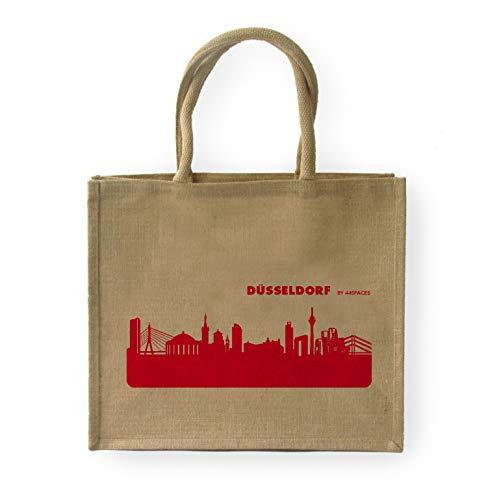 44spaces Großer Shopper Düsseldorf Jute, Aufdruck rot - Größe: 42 x 33 x 19 cm, Geschenk-Tasche Strandtasche Shopping Tragetasche