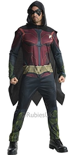 Herren DC Comics Arkham Robin von Batman Superheld Halloween büchertag Film Kostüm Kleid Outfit S-XL - Rot, Rot, Large