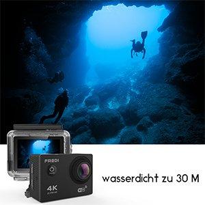 Action Kamera WIFI sports cam 4K camera 20MP Ultra Full HD Unterwasserkamera Helmkamera wasserdicht mit 2 verbesserten Batterien Transporttasche und kostenlose Accessoires