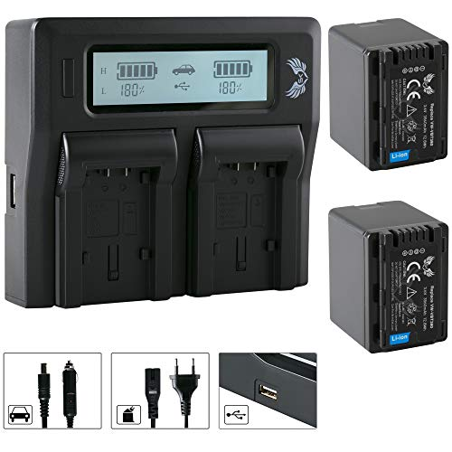 2X SK Akku Panasonic VW-VBT380 3560mAh + LCD Dual Doppel Ladegerät VW-VBT180 VW-VBT360 VW-VBT380 für Panasonic HC-V777 VXF999 WX979 / HDC-H100 TM90