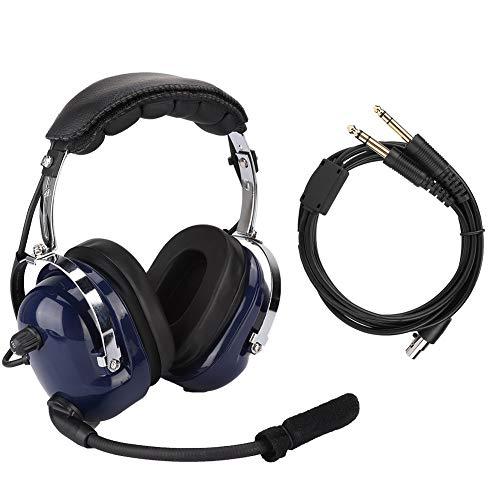 General Aviation Headset (DEWIN General Aviation Pilot Headset - General Aviation Headset, Doppelstecker-Pilotkopfhörer, 3,5-mm-Headset mit Rauschunterdrückung für Piloten)