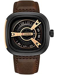 01fde06cd Kademan Dark Brown Business Casual Waterproof Leather Strap Unique Display  Square Dial Watch for Men and
