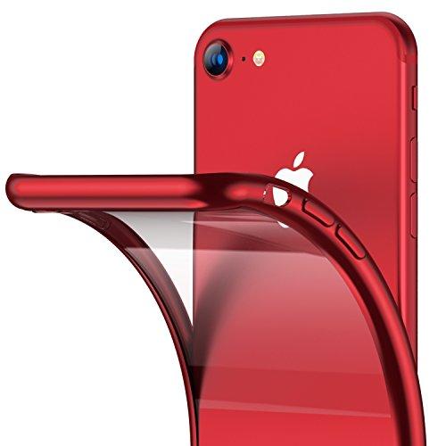 RANVOO Kompatibel mit iPhone 8/7 Hülle, Silikon TPU Soft Dünn Transparent Weich Ultra Slim Durchsichtig Rücken + Rot Rahmen Stoßfest Case Cover Handyhülle, Rot